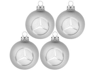 Набор из четырех елочных шаров Mercedes-Benz Christmas Balls, Silver