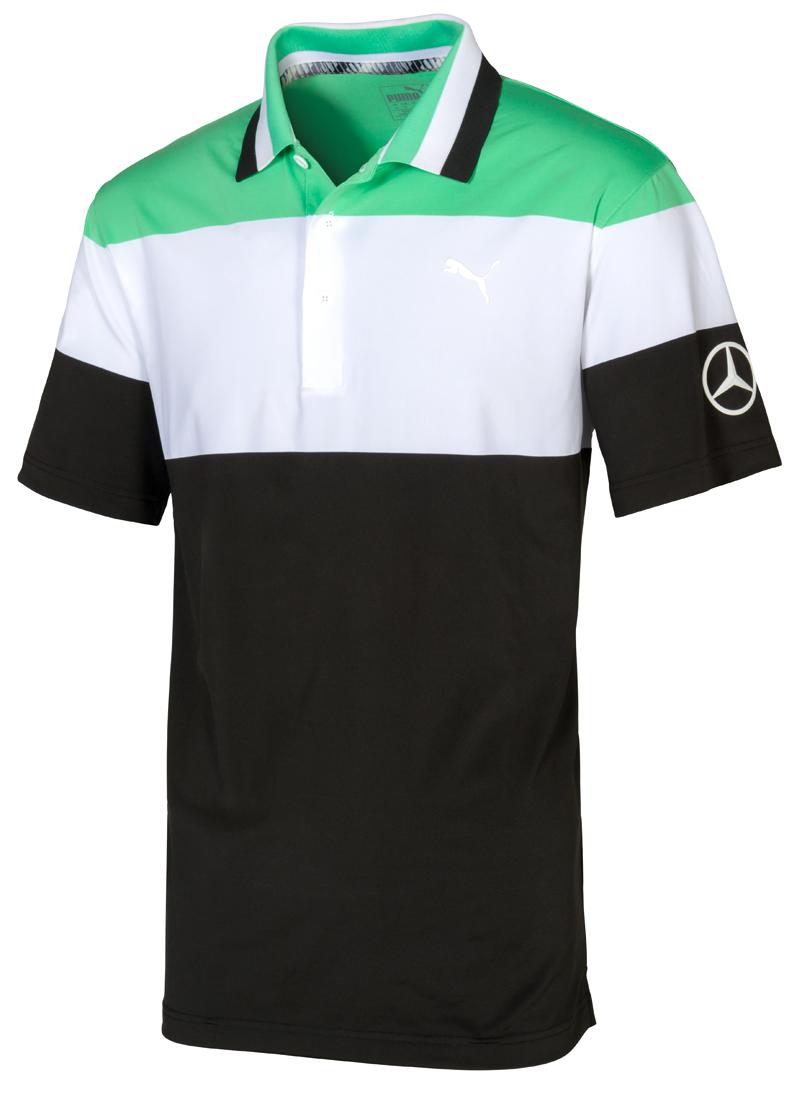 Мужская футболка поло, зеленый-белый-черный
