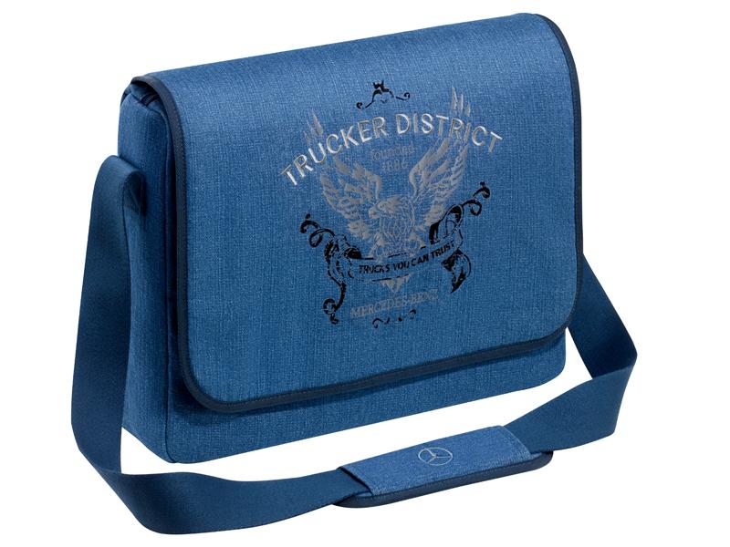 Наплечная сумка Джинсово-синий цвет, Хлопок