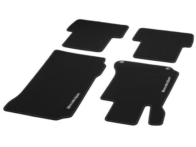 Велюровые коврики СПОРТ, комплект, из 4-х частей, черные