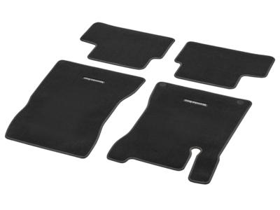 """Коврики салона велюровые черные для Mercedes A class V177 Комплект, из 4-х частей, Декоративная прострочка цвета """"коричневый орех"""""""