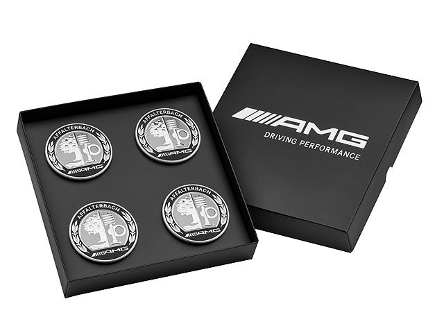 Колпачки ступиц колес AMG с гербом AMG, 4 шт в презентационной упаковке