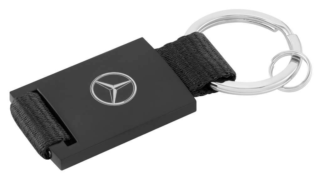 Брелок Mercedes-Benz Key Ring, black/silver, diecast zinc/leatherette