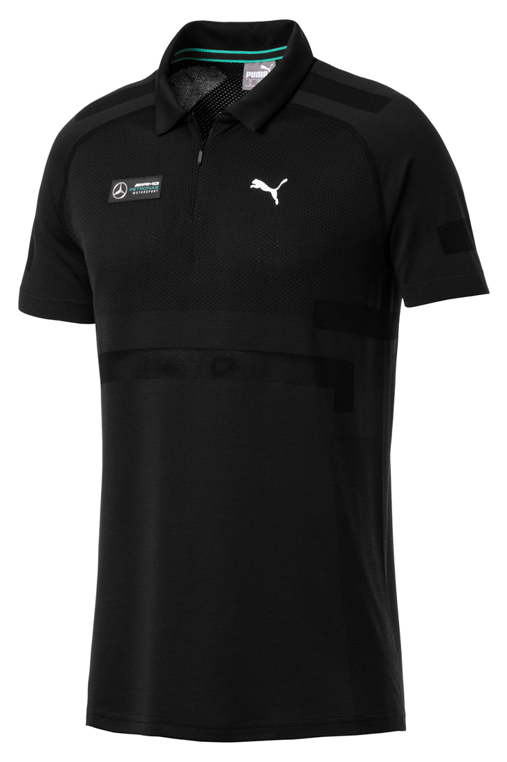 Мужская футболка поло MERCEDES AMG PETRONAS MOTORSPORT, черная