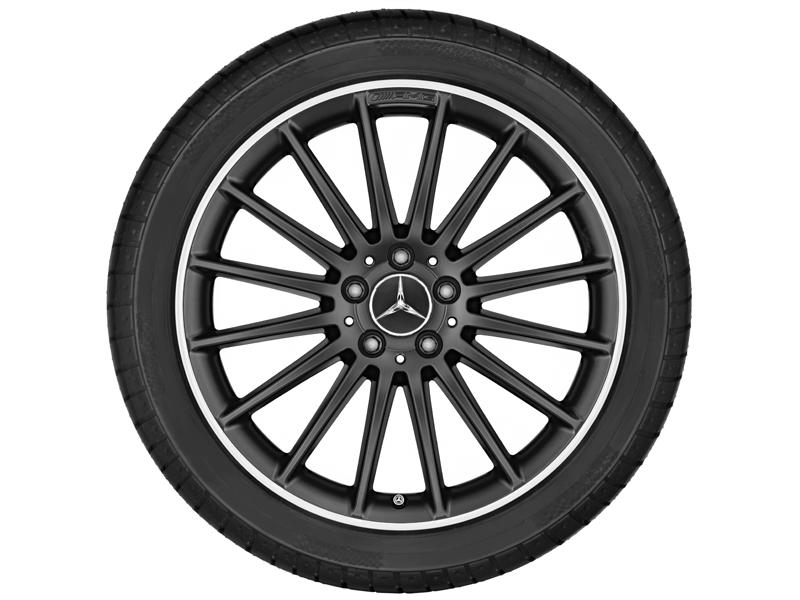 """Многоспицевый колесный диск AMG, 48,3 см (19""""),Полированный обод 8 J x 19 ET 48, Черный матовый"""