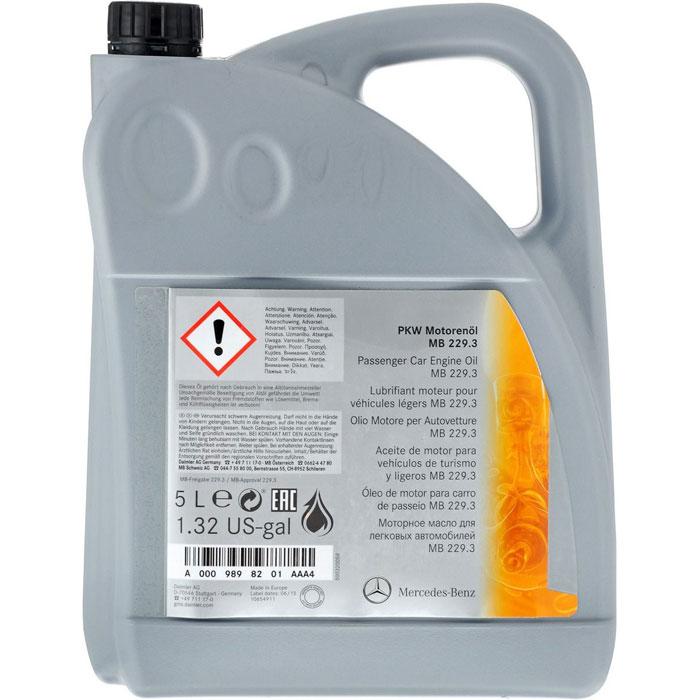 Синтетическое моторное масло Mercedes MB 229.3, вязкость 5W40, 5 л
