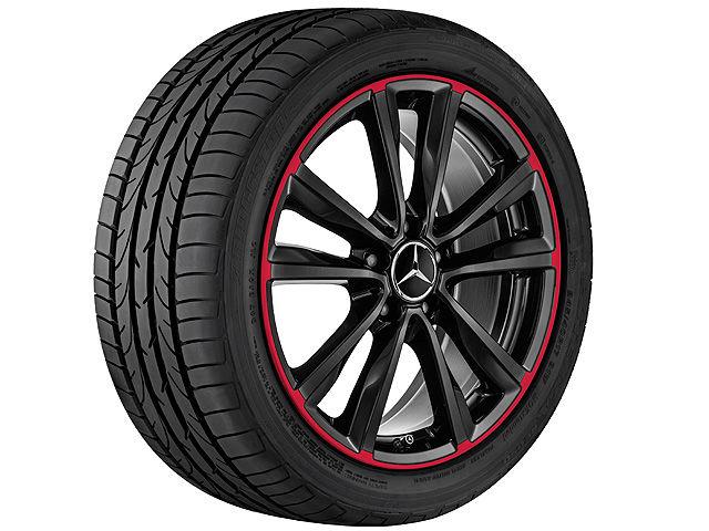 5-спицевый диск со сдвоенными спицами, 45,7 см (18 дюймов),Обод красного цвета 7,5 J x 18 ET 52, черный