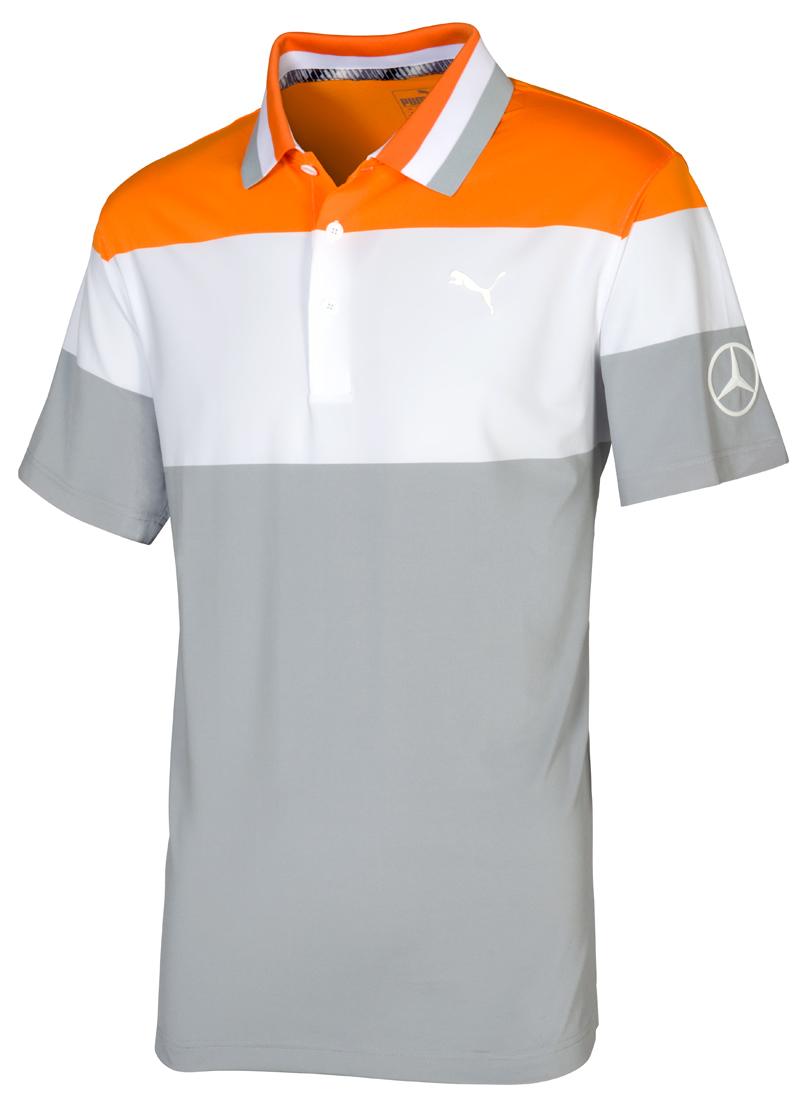 Мужская футболка поло, оранжевый-белый-серый