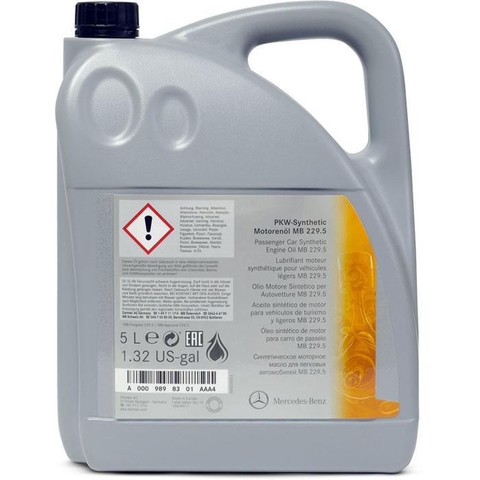 Синтетическое моторное масло Mercedes MB 229.5, вязкость 5W40, 5 л